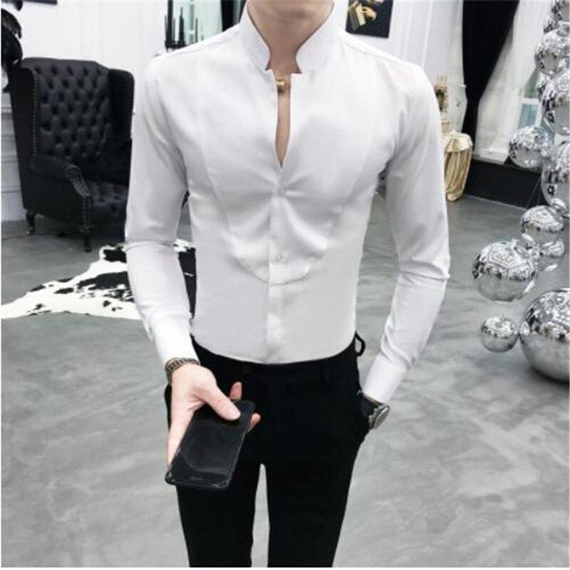 Sexy Unique Stand Collar Shirt Black Red White Slim Fit Long Sleeve Camisa Social Masculina Men Dress Designer Shirt