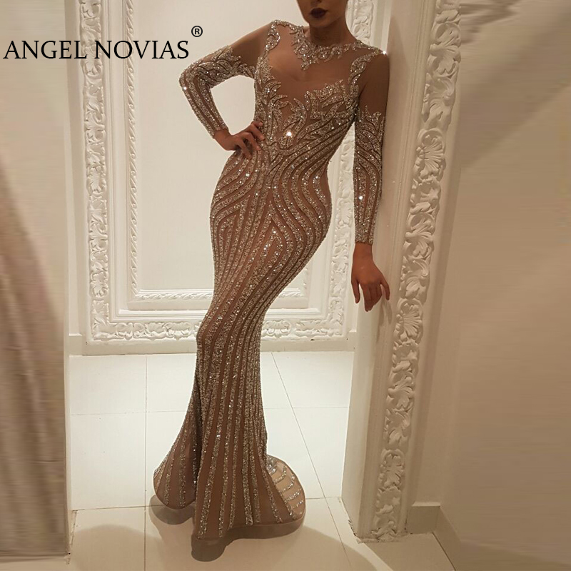 Long Sleeve Crystals Beads Mermaid Arabic Dubai Woman Evening Dress 2019 Formal Prom Dress Party Gown Abendkleider Lang Luxus