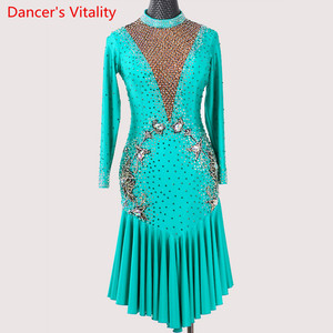 Image 4 - Latin Dance Performance Costume Adult Women High end Professional Racing V Neck Backless Dress Rumba Tango Dancing Stage Wear