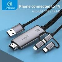 Hagibis Micro USB tipo-C a Hdmi Cable Compatible con 3-en-1 Cable de Audio y Video 4K iPhone Android TV/proyector adaptador para HUAWEI