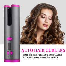 Auto Rotating Ceramic Hair Curler Wireless Beach Wave Curling Iron Hair
