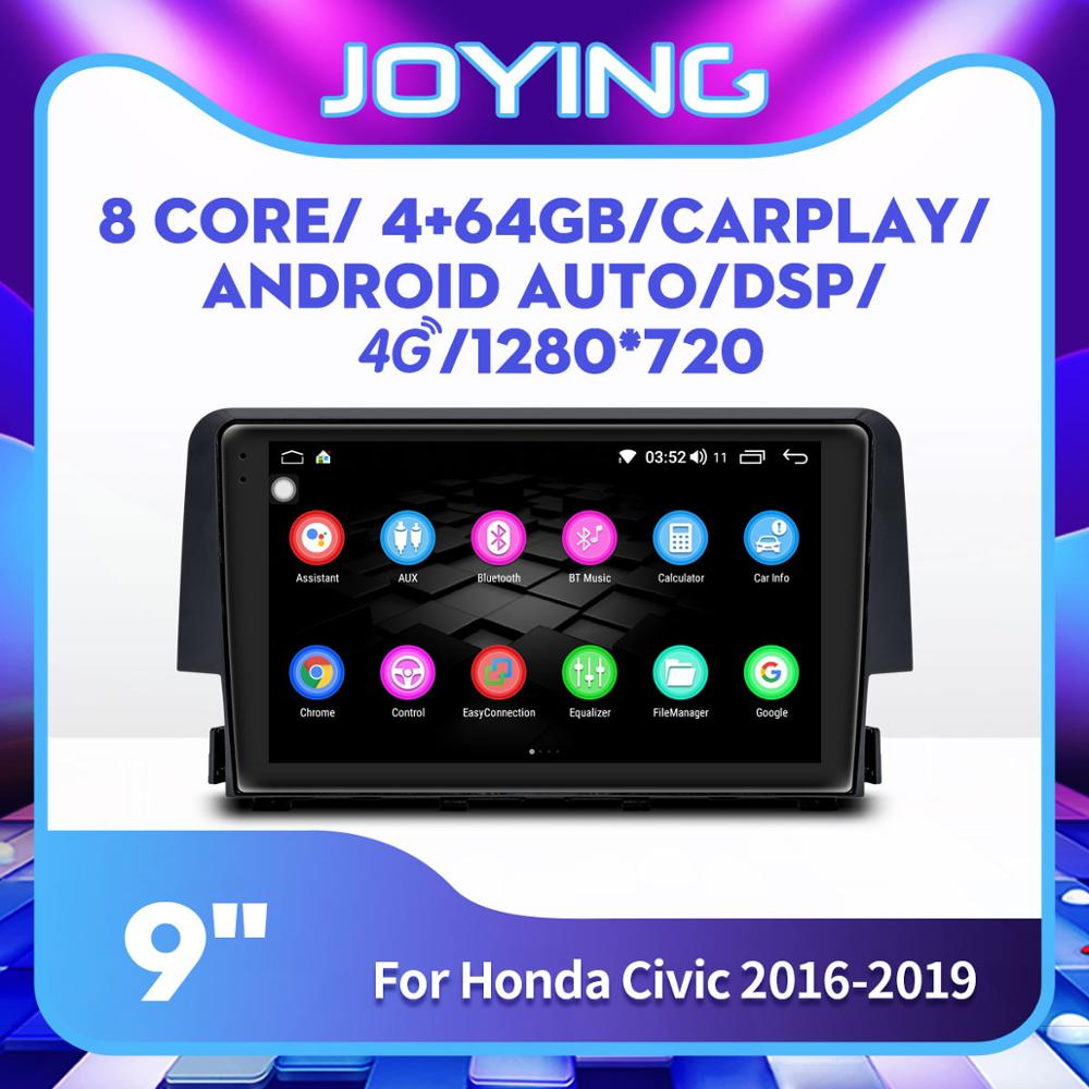 4+64GB 8 Cores Android 8.1 Car Multimedia Player HD 9 IPS Screen Radio Stereo Head Unit for Honda Civic 2016 2017 2018 2019Car Multimedia Player   -