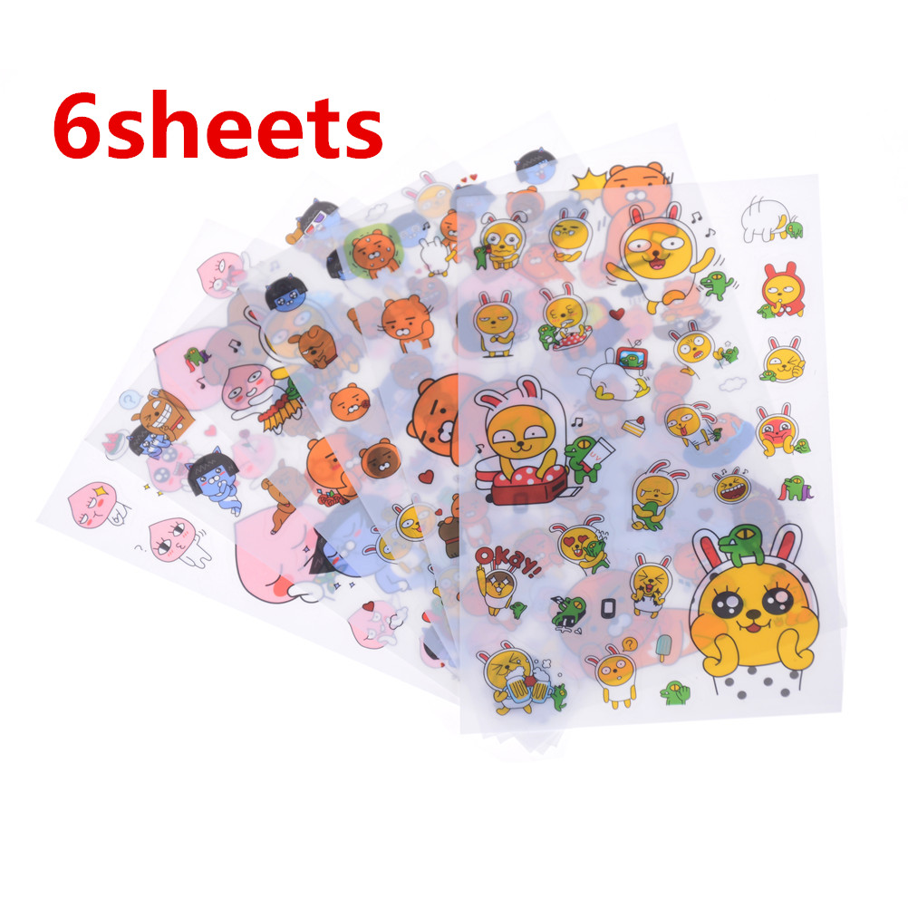 6Sheets Ryan Theme PVC Sticker Puppet Cocoa Home Book DIY Birthday Party Decoration Supplies Wall Stickers Kid Friends Gifts
