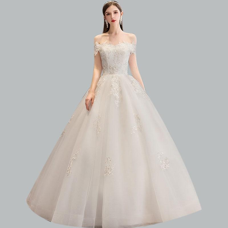 Wedding Dress CR669 Appliques Crystal Wedding Gowns Off The Shoulder Vestidos De Novia Floor-Length Plus Size Wedding Dresses