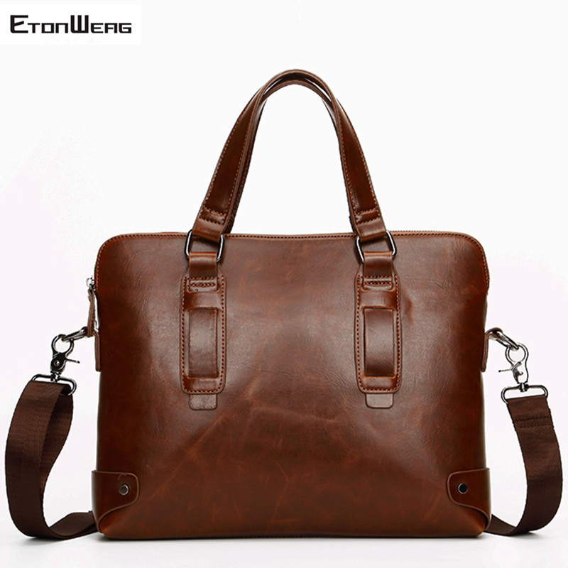 Men's Business Office Briefcase Brand PU Leather Handbag Computer Laptop Bag Women Large Vintage Messenger Bag Casual Solid Tote