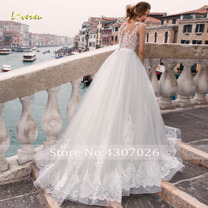 Image 2 - Loverxu Illusion Scoop Ball Gown Wedding Dresses Chic Appliques Cap Sleeve Button Bride Dress Court Train Bridal Gowns Plus Size