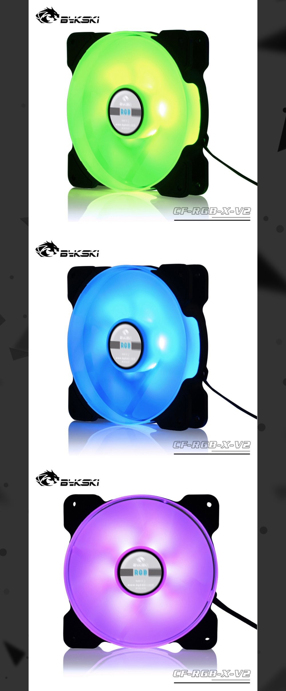 Bykski Fan / Cooler 120mm Constant Cooling, Rgb 12v 4pin, Compatible With 120 / 240 / 360 / 480 mm Radiators, Water Cooling Fans, CF-RGB-X-V2