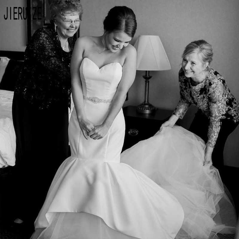 JIERUIZE Elegant Sweetheart Mermaid Wedding Dresses Backless Crystal Sashes Satin Beach Simple Bridal Gowns Vestido De Noiva