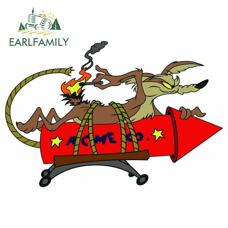 EARLFAMILY 13cm X 8.8cm Cartoon Car Sticker FOR Wile E Coyote ACME Rocket Vinyl Decal Anime Car Styling Waterproof Accessories