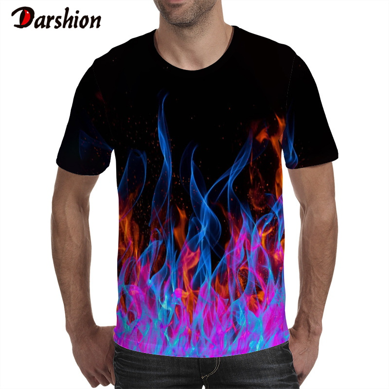 Handsome Boy Summer 3D Tshirt Cool Red Flame Print Short Sleeve Casual Black Anime Tee Top Hip Hop Street Clothes Tshirt O-neck