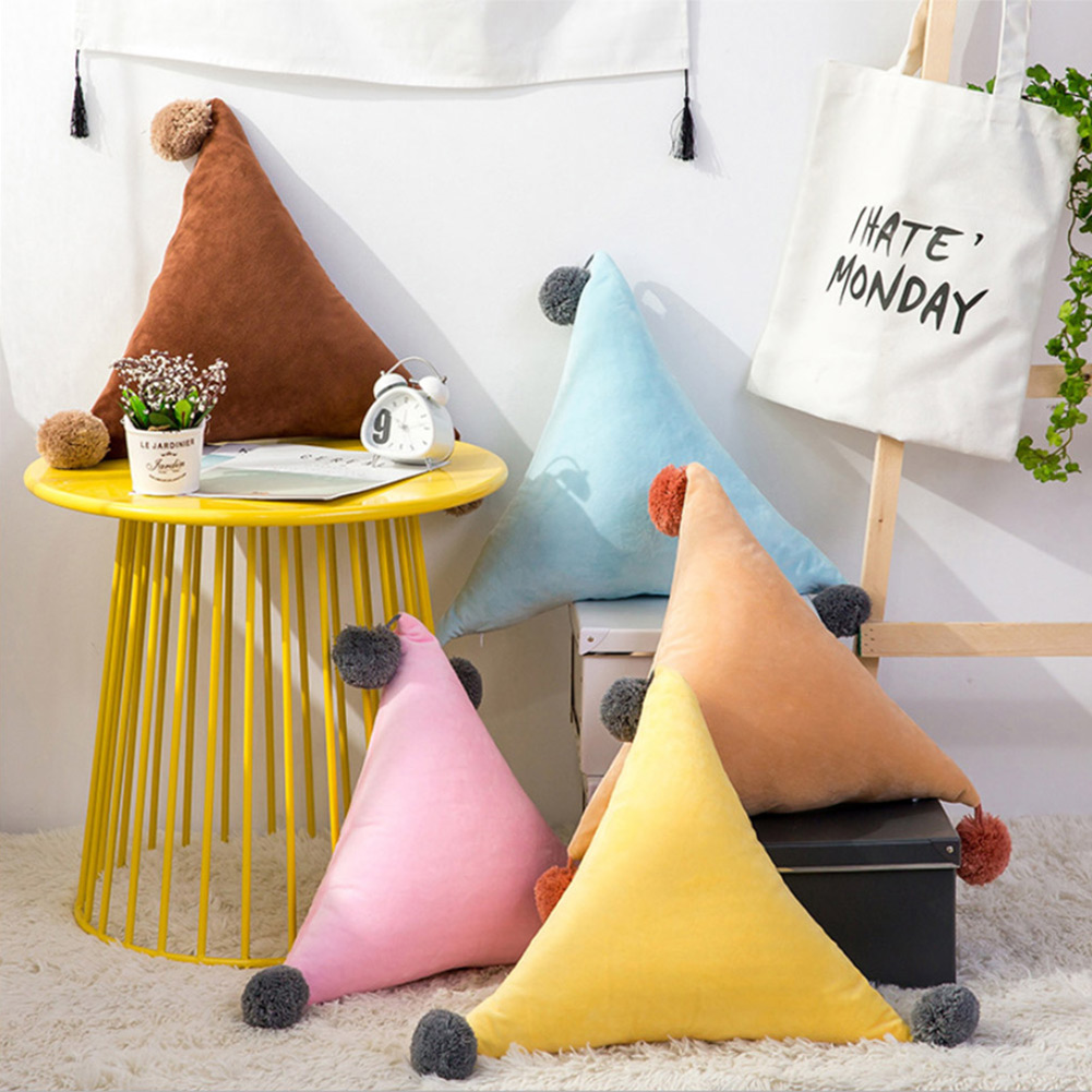 Triangular Cushion Pompom Ball Nordic Sofa Living Room Decoration Birthday Gift 2019ing
