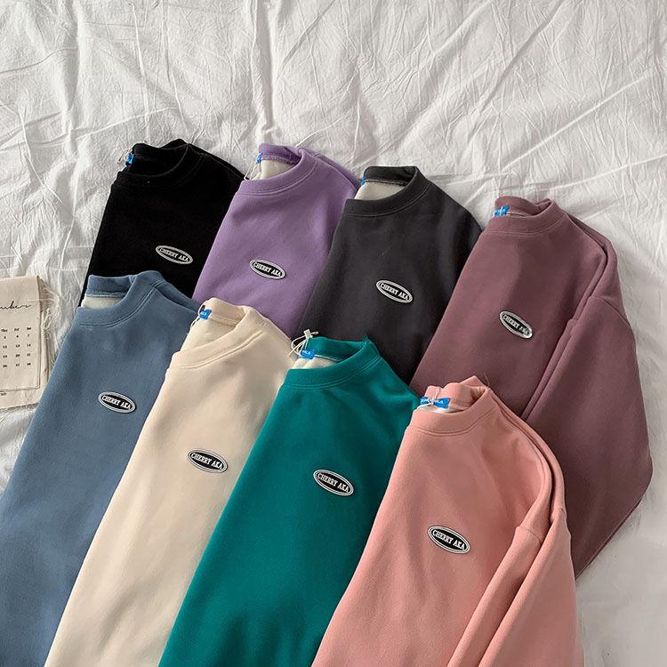 Новинка 2020, толстая бархатная рубашка с длинным рукавом и вышивкой для мужчин и женщин, толстовки, женские свитшоты, Толстовка Оверсайз