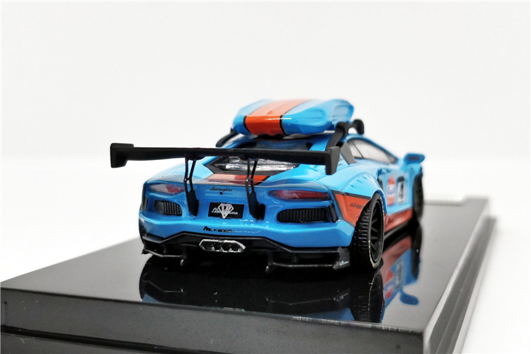JEC 1:64 LB Works Liberty Walk LB Performance Aventador 2.0 GULF Martini with Roof Boxes Diecast Model Car