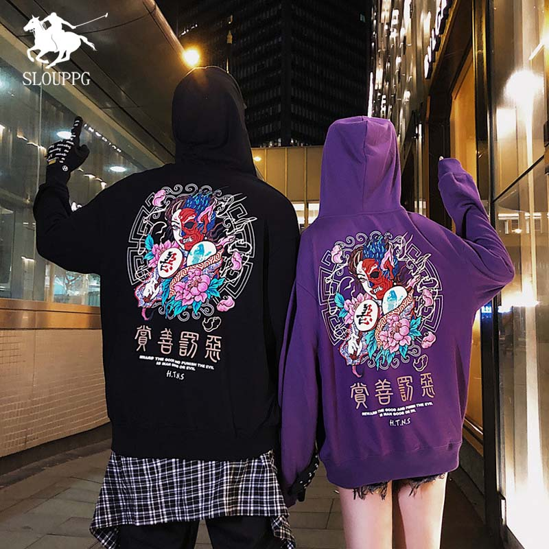 Autumn Winter Chinese Style Original Printed Couple Streetwear Sweatshirts Men's Hoodie Oversize Harajuku Pullover Hoodies Men
