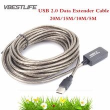 USB 2.0 extension cable 20M/15M/10M/5M Male to Female Active Repeater Extension Extender Cable Cord USB Adapter For Laptop PC(China)