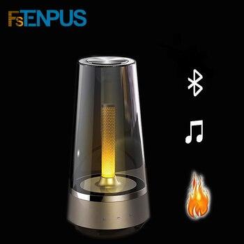 FSTENPUS حار شمعة ضوء سمّاعات بلوتوث تحكم led ضوء الليل ، مصباح لتهيئة الجو التنفس مصباح لهاتفك