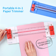 Paper-Trimmer Cutter Fold-Line with Wave Skip Straight Head-Side-Ruler 9inch 4-In-1 Portable