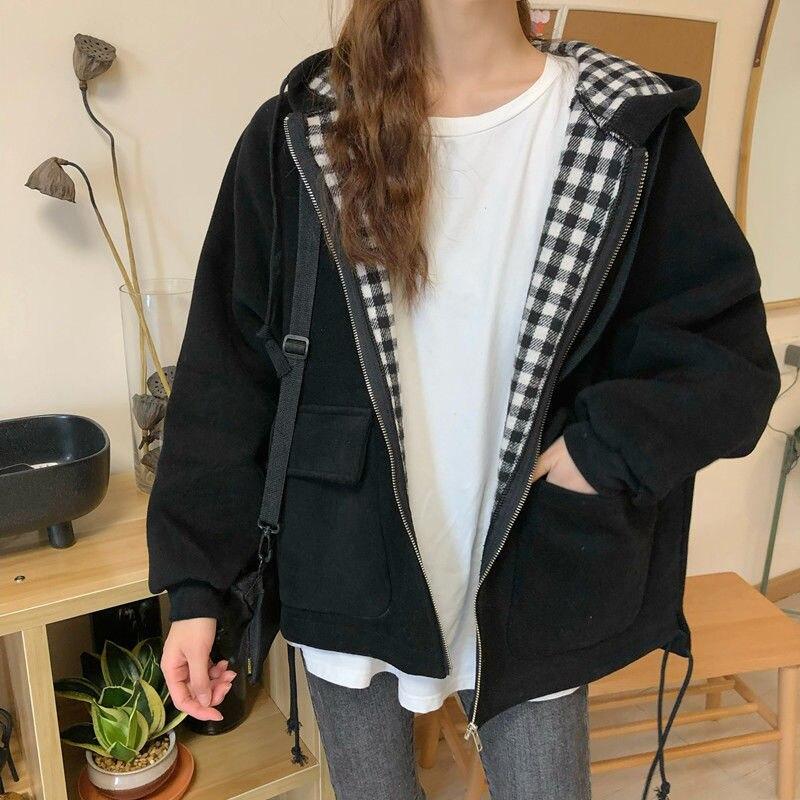 Jaquetas femininas xadrez com capuz outono outwear casacos casuais ins solto oversize harajuku adolescentes streetwear bombardeiro jaqueta plus size topos
