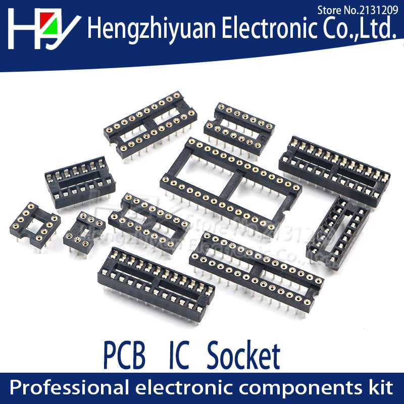 IC Sockets DIP8 DIP14 DIP16 DIP18 DIP20 DIP28 DIP40 Pins Round Hole  2.54 PCB Connector DIP Socket 6 8 14 16 18 20 28 32 40 Pin