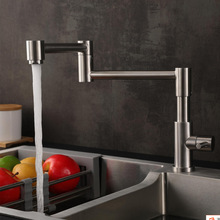 Free Rotation Single Cold Kitchen Faucet Foldable Sink Water Tap 304 Stainless Steel Brushed Wall Mounted Silver Kitchen Faucet free shipping pull out 304 stainless steel kitchen faucet with brushed finishing kitchen sink faucet by s s304 kitchen water tap