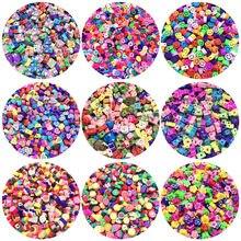 30 stücke 10mm Obst/Smiley/Tier Druck Perlen Polymer Clay Perlen Mischfarbe Polymer Clay Spacer Perlen für Schmuck, Die DIY