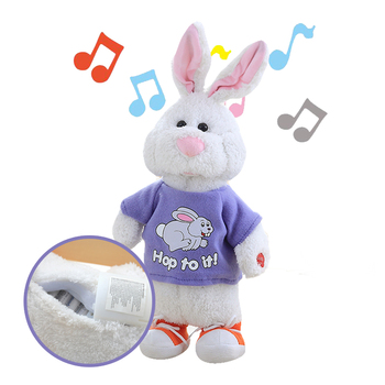 47cm Cute can sing and talk  little white rabbit plush toy doll