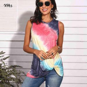 womens top summer tie dye tank tops sleeveless tanks lady casual loose gradient color tops femme fashion daily clothes top women