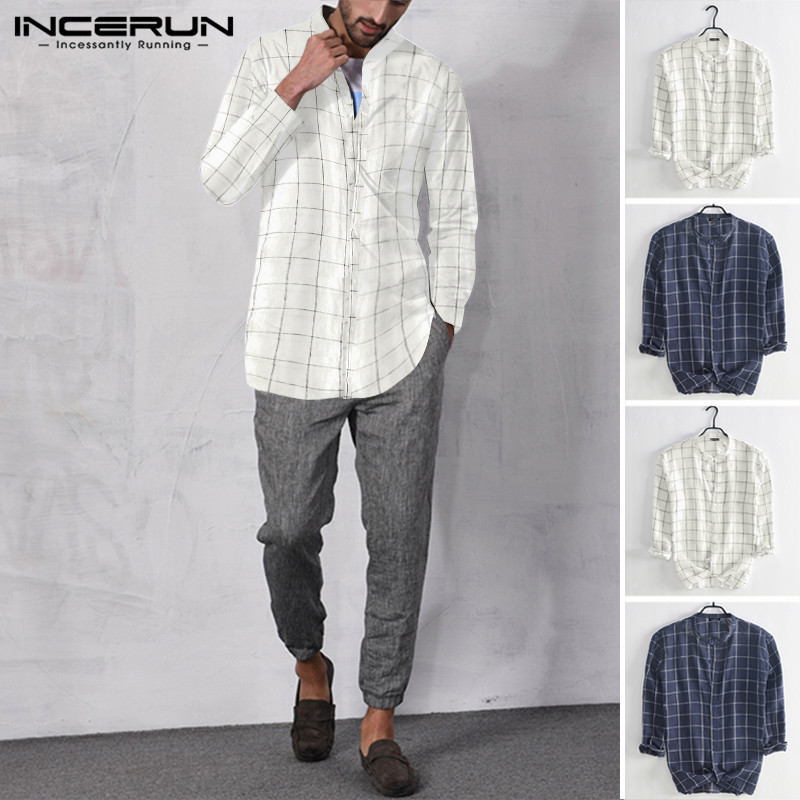 INCERUN Checkered Shirt Casual Long Sleeve Collar  Small Fresh Mens Fashion Street Button Down Men Blouse Camisa Masculina 5XL