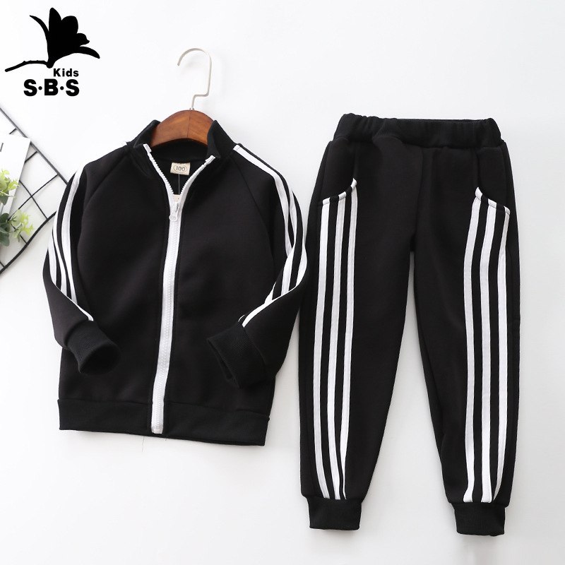 Children's Clothing 2020 Autumn and Winter Long-sleeved Plus Velvet Boys and Girls Zipper Casual Suit Two-piece Sports Set