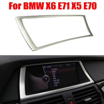 High Quality Stainless Steel Car Navigation Frame Decorative Cover Trim For BMW X6 E71 X5 E70 Durable And Practical image