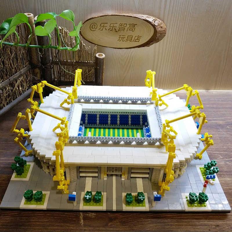 Guest House Borussia Dortmund Sepak Bola Klub Signal Iduna Park 3D Model Mini Diamon Bangunan Kecil Blok Mainan untuk Anak Tidak Ada kotak