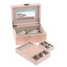 Запираемая дорожная коробка для хранения ювелирных изделий ювелирный Органайзер сумка для колец, колье, серьги, браслет, розовый