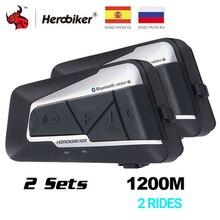 Herobiker interfone de 1200m para motocicleta, com Bluetooth, fone de ouvido à prova dágua para capacete, sem fio