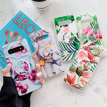 Kickstand Flowers&Leaf Phone Case For Samsung S8 S9 S10 Plus Note 9 10 Pro Plus A10 M10 A20 A30 A50 A70 Telescopic Bracket Case(China)