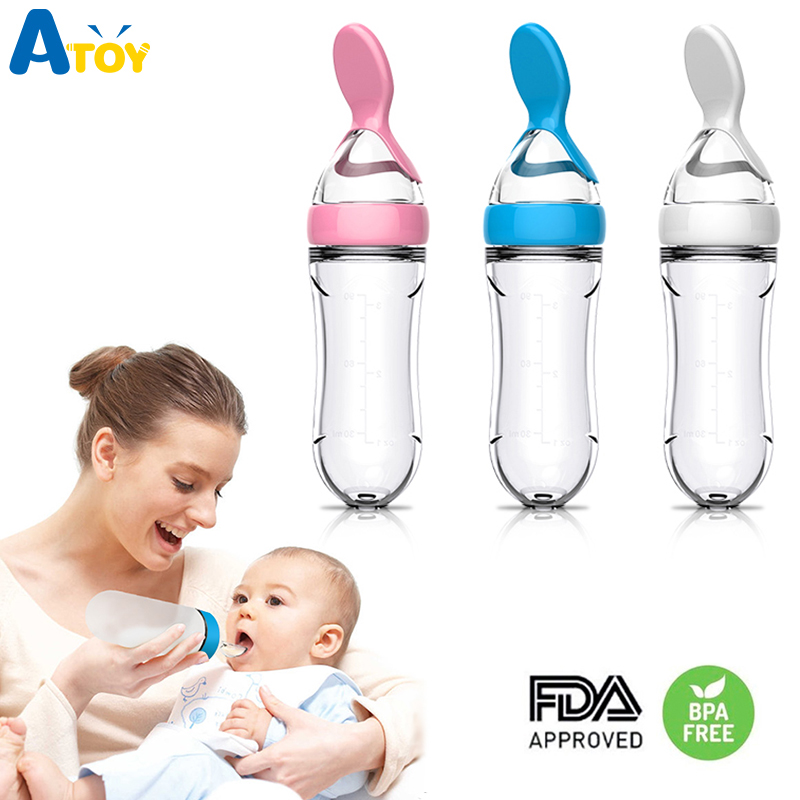 Baby Feeding Bottle Silicone Squeeze Feeder With Spoon Milk Cereal Bottle Baby Food Supplement Training Feeder