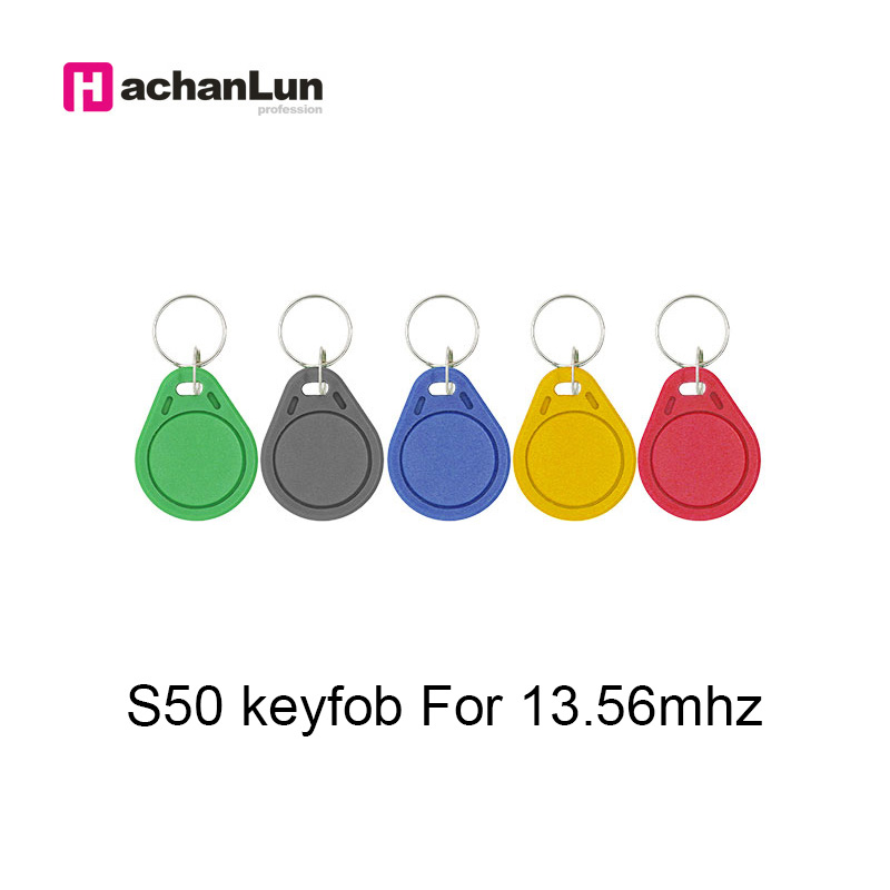 100pcs 13.56MHz IC M1 S50 Keyfobs Tags RFID Key Finder Badge Card Token  Attendance Management Keychain ABS Waterproof