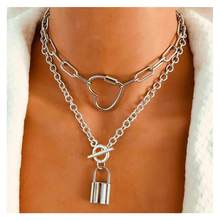 Lislesp cor prata do vintage metal bloqueio pingente colar para as mulheres moda gargantilha colar de declaração festa jóias por atacado