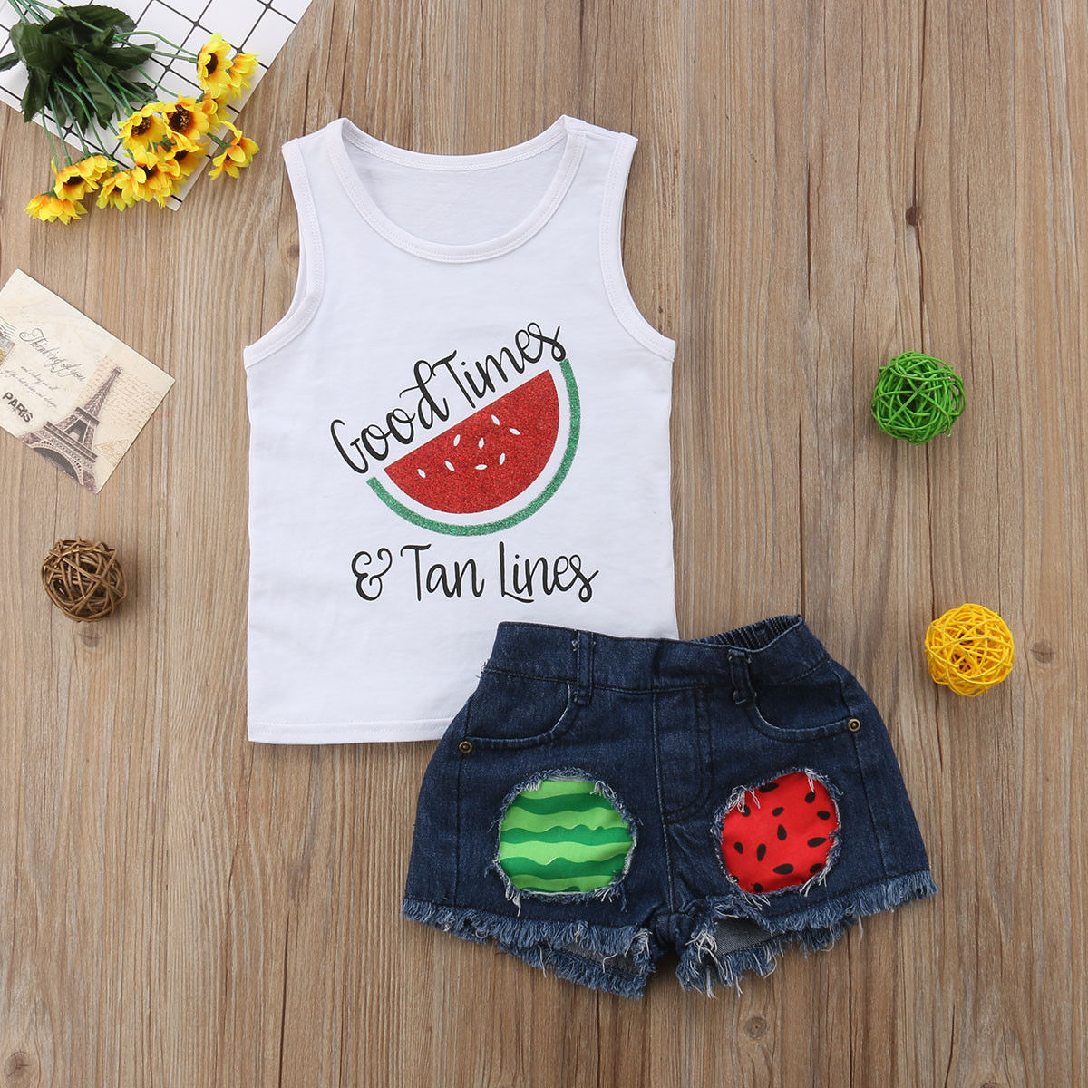 2020 Children Kids Baby Girl Clothes Set Summer Sleeveless Watermelon Vest Tops Shorts Ripped Jeans Girls Clothing Outfits 2