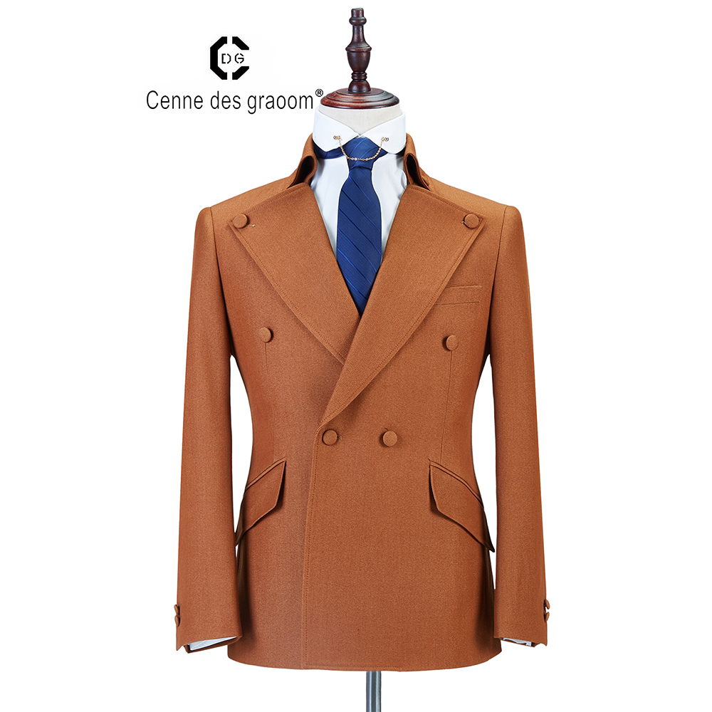 2020 Cenne Des Graoom New Men Suit Coat Pants Latest Designs  Double Breasted Two Pieces Slim Fit Khaki Wedding Casual GroomDG-A