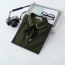 Autumn New Chiffon Blouse Spring Fashion Bow-tie Pearl Dot Tops Stitching Long-sleeve Shirt Female