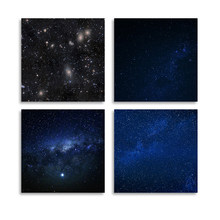 Wall Art Printed Pictures 4 Piece Beautiful Clusters of Stars Canvas Home Decor Modular Painting Cuadros For Living Room Framed(China)