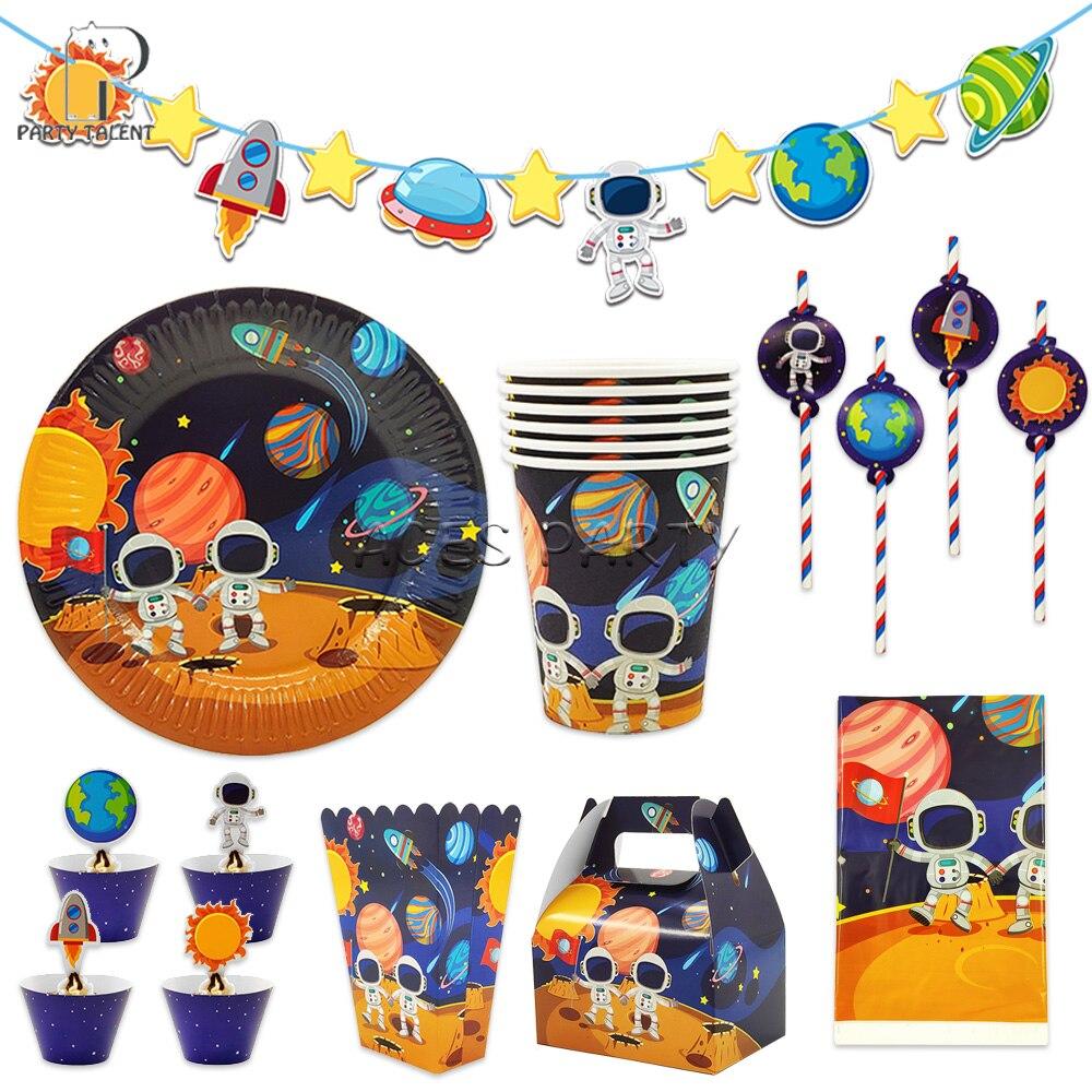 Астронавт солнечное пространство тематические праздничные товары для дня рождения одноразовая скатерть посуда деко конфеты торт коробка ...
