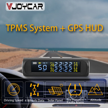 Vjoycar Neueste 2 in 1 Auto HUD GPS Tacho + TPMS Reifen Druck Überwachung System Drahtlose Solar Power Sicherheit Alarm system