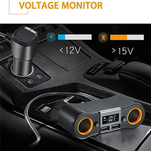 купить 2 In 1 ZNB02 Cigarette Lighter USB Charger Adapter 2-way Double Plug Socket Charger Splitter 12V Automobile Car Charger Adapter дешево