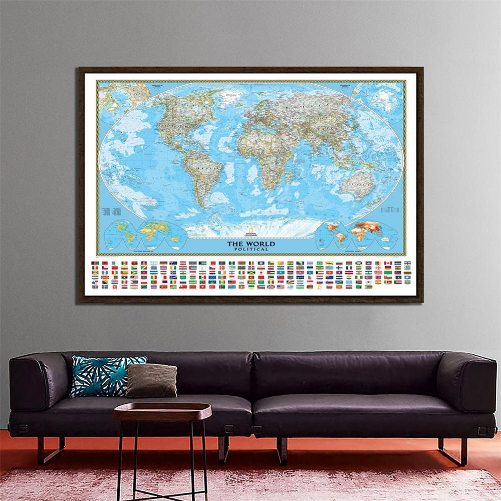 150x225cm The World Political Map With Vegetation Cover And Population Density Goode Projection For Geographic Research