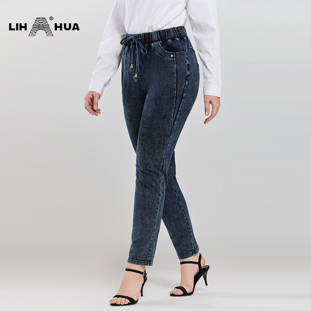 LIH HUA Women's Plus Size Casual Jeans High Flexibility Knitted Denim Jeans 2