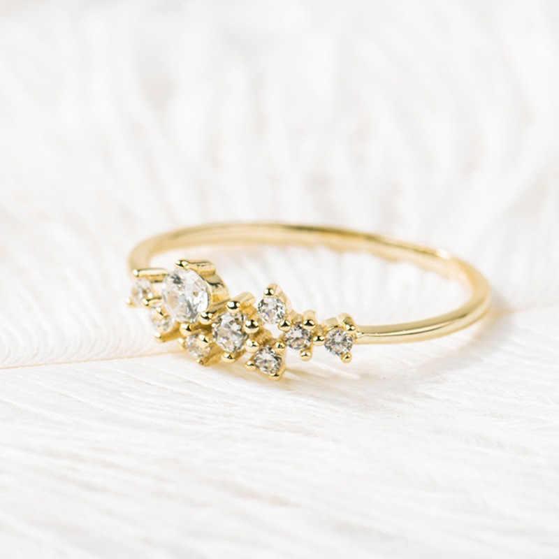 Nuevo Simple 18k oro diamante anillo diseño femenino creativo mujeres anillo de compromiso moda joyería salvaje al por mayor