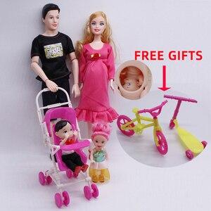Настоящий комплект кукол для беременных/модные Семейные костюмы для кукол 5 человек 1 мама/1 Папа/два ребенка/1 детская коляска для девочки Bjd ...