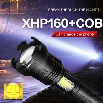 XHP160 najmocniejsza latarka Led latarka XHP90 latarka taktyczna 18650 USB latarka na akumulator jasne Led latarka tanie i dobre opinie paweinuo CN (pochodzenie) Odporny na wstrząsy Twarde Światło Samoobrona POWER BANK Regulowany HS704 500 metrów 2-4 plików