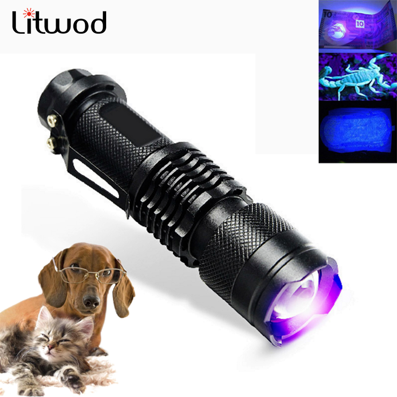 Litwod Z40 UV Flashlight Ultra Violet Light With Zoom Function Mini UV Black Light Pet Urine Stains Detector Inspection Banknote